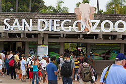 Visitors enter the front of the San Diego Zoo, San Diego, California, United States of America