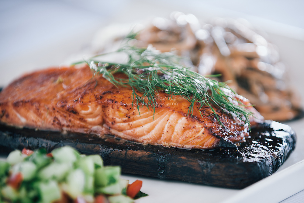 Cedar plank salmon by commercial food photographer Justin Galloway