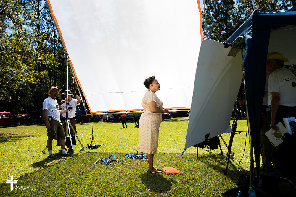 Actress Yvette Jones-Smedley, performing in the role of Rosa Young, waits for direction during filming of 'The First Rosa' documentary at Hope Lutheran Church on Wednesday, Sept. 24, 2014, near Selma, Ala. LCMS Communications/Erik M. Lunsford