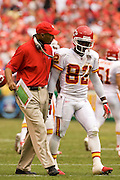KANSAS CITY, MO - SEPTEMBER 10:  Head Coach Herm Edwards talks to kick returner Dante Hall of the Kansas City Chiefs after Hall fumbled a kickoff against the Cincinnati Bengals on September 10, 2006 at Arrowhead Stadium in Kansas City, Missouri..The Bengals won 23 to 10.  (Photo by Wesley Hitt/Getty Images)***Local Caption*** Dante Hall and Herm Edwards