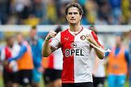 ARNHEM, Vitesse - Feyenoord, voetbal Eredivisie, seizoen 2013-2014, 06-10-2013, Stadion Gelredome, Feyenoord speler Daryl Janmaat is blij met de overwinning.