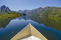 Bow and landccape of Ceasar Lake in Parque Nacional Corcovado during the Patagonia Expedition 2013 in Southern Chile.