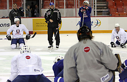 Coach Mats Waltin and his hockey players at practice of Slovenian national team before Hockey IIHF WC 2008 in Halifax,  on May 01, 2008 in Metro Centre, Halifax, Canada.  (Photo by Vid Ponikvar / Sportal Images)