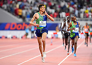 Soufiane El Bakkali (MAR) celebrates after winning the steeplechase in 8:07.22 during the IAAF Doha Diamond League 2019 at Khalifa International Stadium, Friday, May 3, 2019, in Doha, Qatar (Jiro Mochizuki/Image of Sport)