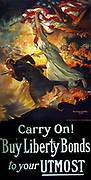 Carry on! Buy Liberty Bonds to your UTMOST'.  American World War I Poster, 1918 designed by Edwin Howland Blashfield (1848-1936).  Allegorical figure of Victory waving Stars-and-Stripes accompanies soldiers at the front.