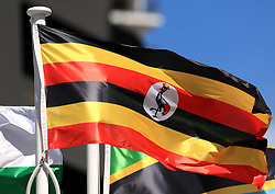 The flag of Uganda on a pole at the Commonwealth Games