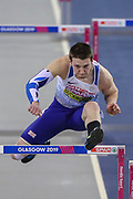 Tim Duckworth (Great Britain) in the Men's Pentathlon, 60m Hurdles, during the European Athletics Indoor Championships at Emirates Arena, Glasgow, United Kingdom on 3 March 2019.