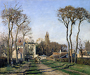 Entrance to the village of Voisins (Yvelins), 1872: Camille Pissarro (1830-1872) Fench artist. Oil on Canvas.
