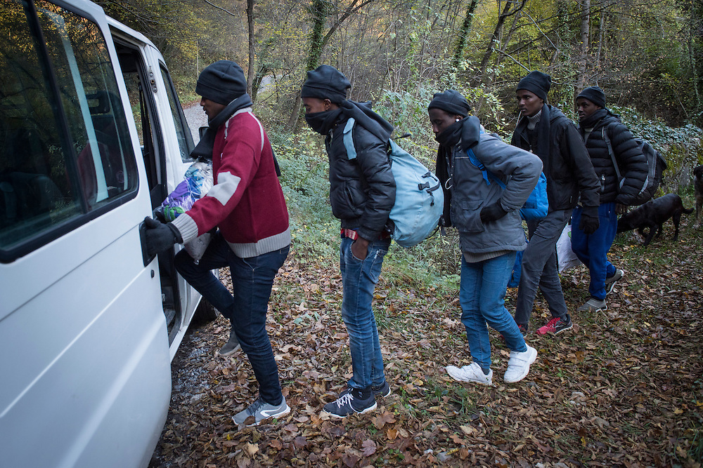 November 8, 2016,  Breil-sur-Roya, French Alpes, France. Eritrean refugees who spent the night in the house of Elo&iuml;se, quickly enter Sylvains van to be transported over the mountains to a safe train station. By doing so the driver, Sylvain, , 67 years, a retired school teacher, risks police arrests and a trial.<br /> <br /> 8 novembre 2016, Breil-sur-Roya, Alpes fran&ccedil;aises, France. Des r&eacute;fugi&eacute;s &eacute;rythr&eacute;ens qui ont pass&eacute; la nuit dans la maison d'Elo&iuml;se, entrent dans la camionnette de Sylvain pour &ecirc;tre transport&eacute;s au-dessus des montagnes vers une gare jug&eacute;e s&ucirc;re. Ce faisant Sylvain, 67 ans, prof &agrave; la retraite, risque d'&ecirc;tre arr&ecirc;t&eacute; et jug&eacute;.
