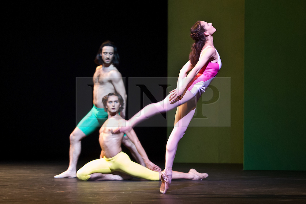 © Licensed to London News Pictures. 27/01/2012. Sadler's Wells, London. Former Royal Ballet Principal, Ivan Putrov, presents an evening of works exploring the beauty of the male form in motion. Joining him onstage will be Royal Ballet sensation Sergei Polunin, Mariinsky Ballet Principal Igor Kolb, Critics' Circle Award-winner Daniel Proietto, English National Ballet Senior Principal Elena Glurdjidze and South Bank Show Breakthrough Artist award-winner Aaron Sillis. .Picture shows Elena Glurdjidze, Aaron Sillis and Ivan Putrov in Ithaca. Photo credit : Tony Nandi/LNP