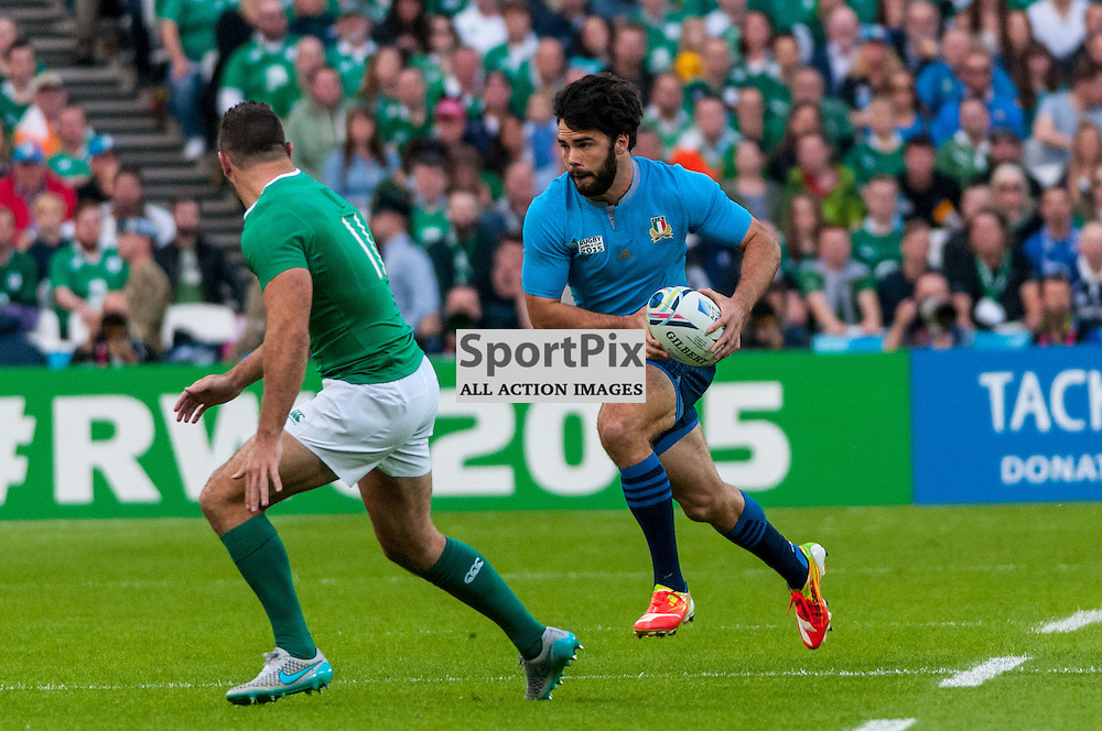 Luke McLean of Italy. Action from the Ireland v Italy pool game at the 2015 Rugby World Cup at Queen Elizabeth Stadium in London, 4 October 2015. (c) Paul J Roberts / Sportpix.org.uk