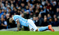 Nicolas Otamendi of Manchester City goes down with a dead leg - Mandatory byline: Matt McNulty/JMP - 15/03/2016 - FOOTBALL - Etihad Stadium - Manchester, England - Manchester City v Dynamo Kyiv - Champions League - Round of 16