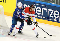 Nicolas Besch / Thomas Raffl - 05.05.2015 - Autriche / France  - Championnats du Monde de Hockey sur Glace 2015 -Prague<br />Photo : Xavier Laine / Icon Sport