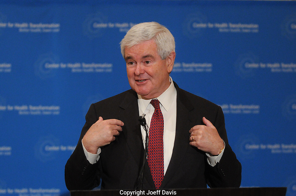 ATLANTA, Georgia, March 25, 2010: Newt Gingrich's press conference at the St. Regis.<br />
