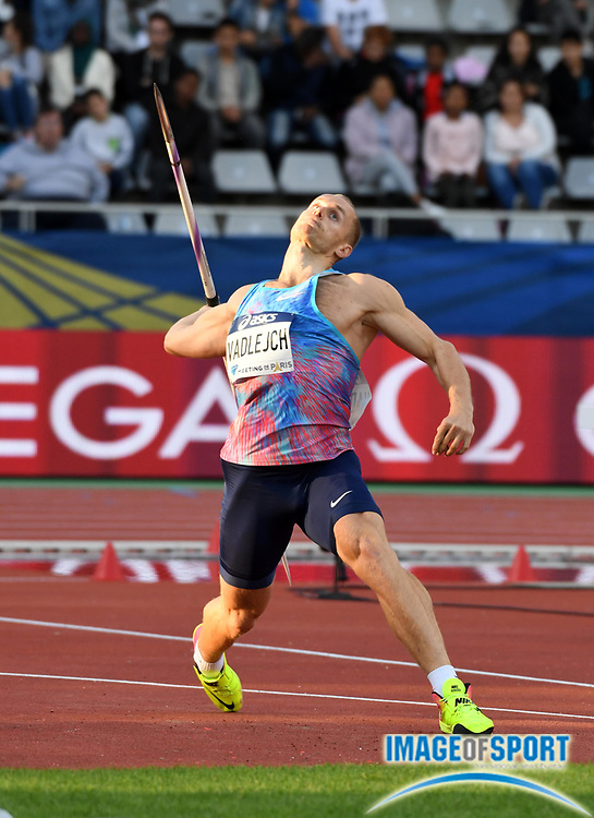 Jul 1, 2017; Paris, France; Jakub Vadlejch (CZE) places second in the javelin with a throw of 288-9 (88.02m) during the Meeting de Paris in an IAAF Diamond League meet at Stade Charlety.