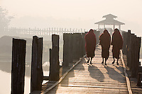 Monks on the U-Bein Bridge, Amarapura, Myanmar