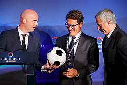 © Licensed to London News Pictures. 01/02/2016. London, UK. FIFA Presidential Candidate Gianni Infantino unveils his 90 day plan that he will implement if he is elected FIFA President with former England manager Fabio Capello and former Chelsea manager José Mourinho at Wembley Stadium in London on Monday 1 February 2016. Photo credit: Tolga Akmen/LNP