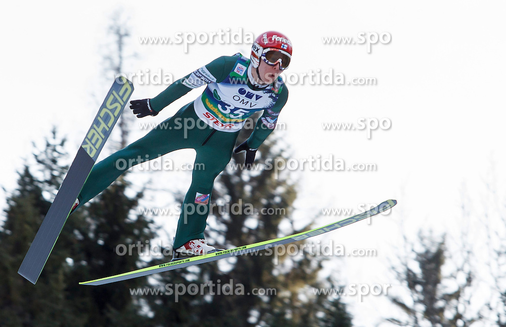 12.01.2014, Kulm, Bad Mitterndorf, AUT, FIS Ski Flug Weltcup, Erster Durchgang, im Bild Jarkko Maeaettae (FIN) // Jarkko Maeaettae (FIN) during the first round of FIS Ski Flying World Cup at the Kulm, Bad Mitterndorf, .Austria on 2014/01/12, EXPA Pictures © 2013, PhotoCredit: EXPA/ Erwin Scheriau