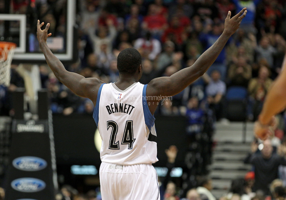 Nov 1, 2014; Minneapolis, MN, USA; Minnesota Timberwolves forward Anthony Bennett (24) against the Chicago Bulls at Target Center. The Bulls defeated the Timberwolves 106-105. Mandatory Credit: Brace Hemmelgarn-USA TODAY Sports