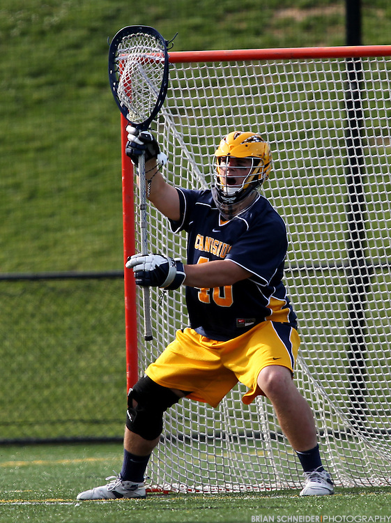 May 12, 2012; Baltimore, MD, USA; Canisius College Golden Griffins goalie Sean Callahan (40) against Loyola Maryland Greyhounds at Ridley Athletic Complex in Baltimore, MD. Mandatory Credit: Brian Schneider-www.ebrianschneider.com