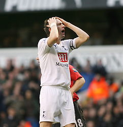 LONDON, ENGLAND - Saturday, February 2, 2008: Tottenham Hotspur's Robbie Keane misses an easy chance against Manchester United during the Premiership match at White Hart Lane. (Photo by Chris Ratcliffe/Propaganda)