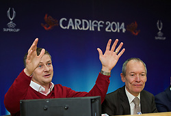 +++ FREE USE FOR STORIES PROMOTING THE UEFA SUPER CUP 2014 ONLY +++<br /> <br /> CARDIFF, WALES - Monday, February 17, 2014: Cardiff City manager manager Ole Gunnar Solskj&aelig;r with John Griffiths Minister for Culture and Sport at the launch the UEFA Super Cup 2014 which will be played at the Cardiff City Stadium on 12th August. (Pic by David Rawcliffe/Propaganda)