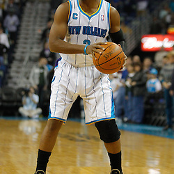 January 17, 2011; New Orleans, LA, USA; New Orleans Hornets point guard Chris Paul (3) against the Toronto Raptors during the first quarter at the New Orleans Arena.   Mandatory Credit: Derick E. Hingle