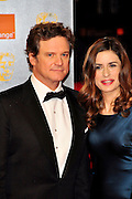 13.FEBRUARY.2011. LONDON<br /> <br /> COLIN FIRTH AND WIFE LIVIA GIUGGIOLI AT THE ORANGE BRITISH ACADEMY FILM AWARDS AT THE ROYAL OPERA HOUSE IN CENTRAL LONDON<br /> <br /> BYLINE: EDBIMAGEARCHIVE.COM<br /> <br /> *THIS IMAGE IS STRICTLY FOR UK NEWSPAPERS AND MAGAZINES ONLY*<br /> *FOR WORLD WIDE SALES AND WEB USE PLEASE CONTACT EDBIMAGEARCHIVE - 0208 954 5968*