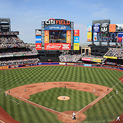 A panoramic view of Citi Field during the New York Mets V San Francisco Giants Baseball game at Citi Field, Queens, New York. 21st April 2012. Photo Tim Clayton.Note to Editors: This image is a composite of three images taken a split second apart and merged in editing.