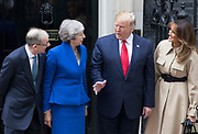 UNITED KINGDOM, London: 04 June 2019 <br /> The President of the United States of America Donald Trump and his wife Melania are welcomed to 10 Downing Street this morning by British Prime Minster Theresa May and her husband Philip during The President's official state visit.