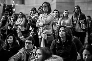 Supporters react as they watch the election returns during Democratic presidential nominee Hillary Clinton's election night rally in the Jacob Javits Center glass enclosed lobby in New York, Wednesday, Nov. 9, 2016.
