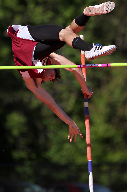 Xavier Mascareñas/The Journal News; Matt Urbano of Iona Prep competes in the pole vault during the final day of the Glenn D. Loucks Memorial Track and Field Games at White Plains High School on May 12, 2012.