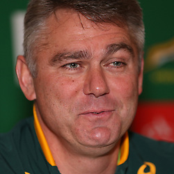 LONDON, ENGLAND - NOVEMBER 12: Heyneke Meyer (Head Coach) of South Africa during the South African National rugby team announcement at Berties Bar, Royal Garden Hotel on November 12, 2014 in London, England. (Photo by Steve Haag/Gallo Images)