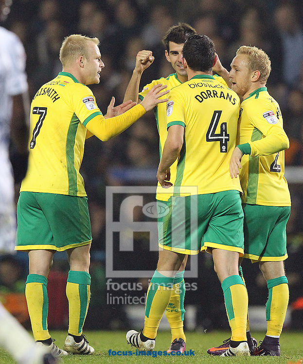Nelson Oliveira of Norwich celebrates scoring his sides 2nd goal  during the EFL Cup match at Elland Road, Leeds<br /> Picture by Paul Chesterton/Focus Images Ltd +44 7904 640267<br /> 25/10/2016