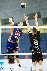 Eric Mochalski of ACH Volley and Primoz Vidmar of Calcit Kamnik during volleyball match between Calcit Volleyball and ACH Volley in Round #4 of Finals of 1. DOL Slovenian Championship 2014/15, on April 23, 2015 in Sportna Dvorana, Kamnik, Slovenia. Photo by Matic Klansek Velej / Sportida