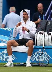 Novak Djokovic during in his Quarter Final match against Vasek Pospisil during day five of the AEGON International at Devonshire Park, Eastbourne.