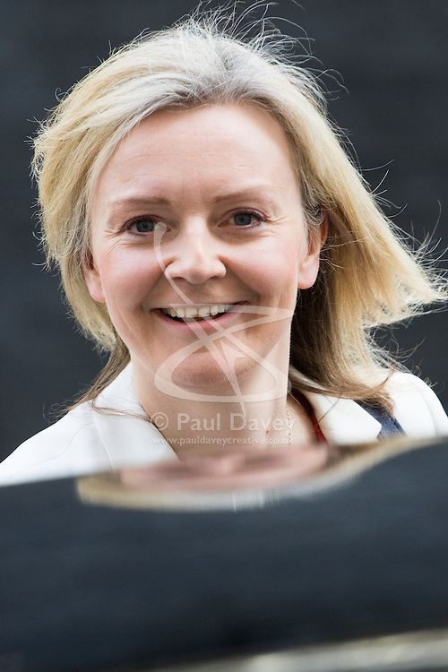 Downing Street, London, April 12th 2016. Environment Food and Rural Affairs Secretary Elizabeth Truss leaves the weekly cabinet meeting. <br /> ©Paul Davey<br /> FOR LICENCING CONTACT: Paul Davey +44 (0) 7966 016 296 paul@pauldaveycreative.co.uk