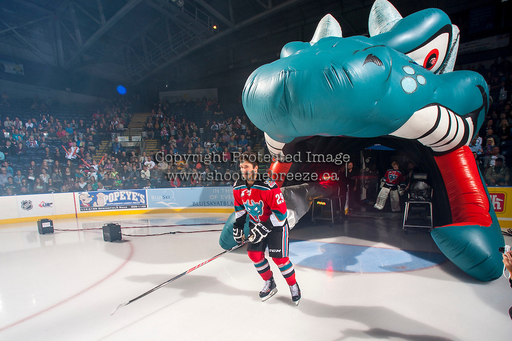 KELOWNA, CANADA - SEPTEMBER 21:  Myles Bell #29 of the Kelowna Rockets enters the ice during the regular season home opener against the Kamloops Blazers at the Kelowna Rockets on September 21, 2013 at Prospera Place in Kelowna, British Columbia, Canada (Photo by Marissa Baecker/Shoot the Breeze) *** Local Caption ***