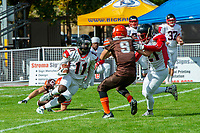KELOWNA, CANADA - SEPTEMBER 16: Andre Gordon #11 of the Vancouver Island Raiders runs with the ball against the Okanagan Sun on September 16, 2018, at the Apple Bowl, in Kelowna, British Columbia, Canada.  (Photo by Marissa Baecker/Shoot the Breeze)  *** Local Caption ***