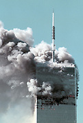 Two commercial jetplanes crashes into each of twin towers of the World Trade Center in a coordinated terror attack orchestrated by Osama Bin Laden.