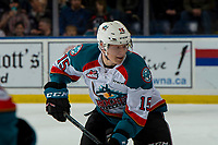 KELOWNA, CANADA - JANUARY 4: Dallon Wilton #15 of the Kelowna Rockets skates against the Prince George Cougars  on January 4, 2019 at Prospera Place in Kelowna, British Columbia, Canada.  (Photo by Marissa Baecker/Shoot the Breeze)