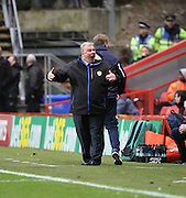 Leeds United manager Steve Evans not lookijng very happy during the Sky Bet Championship match between Charlton Athletic and Leeds United at The Valley, London, England on 12 December 2015. Photo by Matthew Redman.