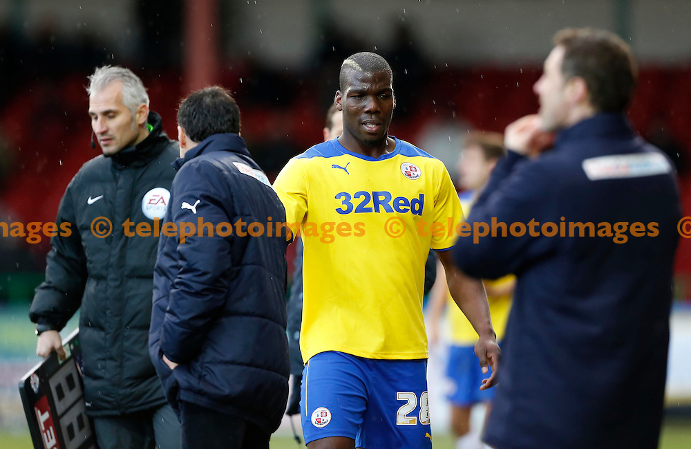 Crawley&rsquo;s Mathias Pogba comes off during the Sky Bet division one match between Swindon Town and Crawley Town at the County Ground in Swindon. February 21, 2015.<br /> James Boardman / TELEPHOTO IMAGES