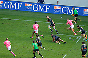 JONATHAN DANTY (STADE FRANCAIS) with the ball, Sergio Parisse (Stade Francais) (L) and Tony Ensor (Stade Francais Paris) (R), Ryan Lamb (Stade Rochelais), Brock JAMES (Stade Rochelais) during the French Championship Top 14 Rugby Union match between Stade Francais and Stade Rochelais, on September 2, 2017 at Jean Bouin stadium in Paris, France - Photo Stephane Allaman / ProSportsImages / DPPI