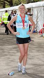 Linda Barker after finishing  the London Marathon , Sunday 22nd April 2012  Photo by: Stephen Lock / i-Images