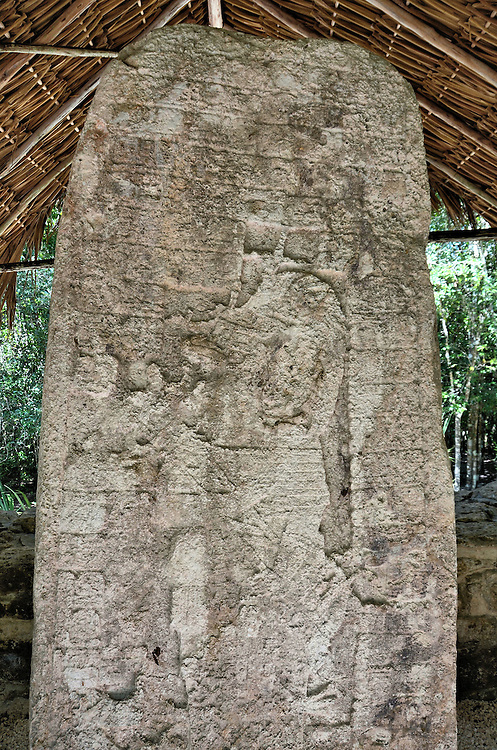 Most Famous Stela 1 at Mayan Ruins in Coba, Mexico<br />