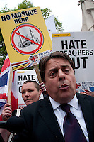 Nick Griffin leader  of far right islamophobic  BNP British National Party talks at rally following murder of soldier Drummer Lee Rigby