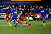 AFC Wimbledon striker Dominic Poleon (10) shot on goal during the EFL Sky Bet League 1 match between AFC Wimbledon and Coventry City at the Cherry Red Records Stadium, Kingston, England on 14 February 2017. Photo by Matthew Redman.