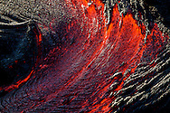 Molten lava in form of a wave, Volcano National Park, Kilauea, Big Island, HAwaii