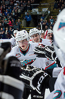 KELOWNA, CANADA - MARCH 25: Lucas Johansen #7 of Kelowna Rockets celebrates the second goal against the Kamloops Blazers on March 25, 2016 at Prospera Place in Kelowna, British Columbia, Canada.  (Photo by Marissa Baecker/Shoot the Breeze)  *** Local Caption *** Lucas Johansen;